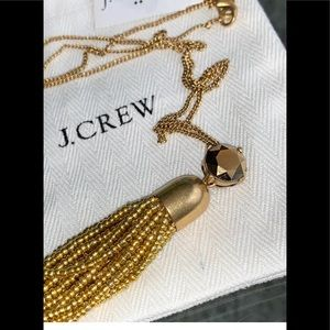 J crew gold tassel beaded necklace NWT